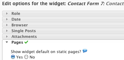 Figura 5. Dynamic Widgets: alcune delle impostazioni possibili