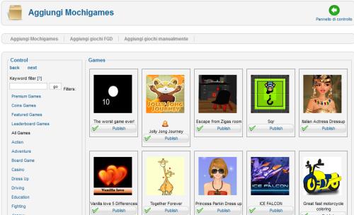 Elenco dei giochi che possiamo inserire nel sito