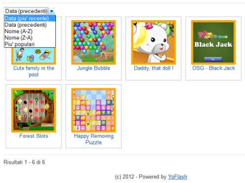 Pagina con l'elenco dei giochi della categoria scelta