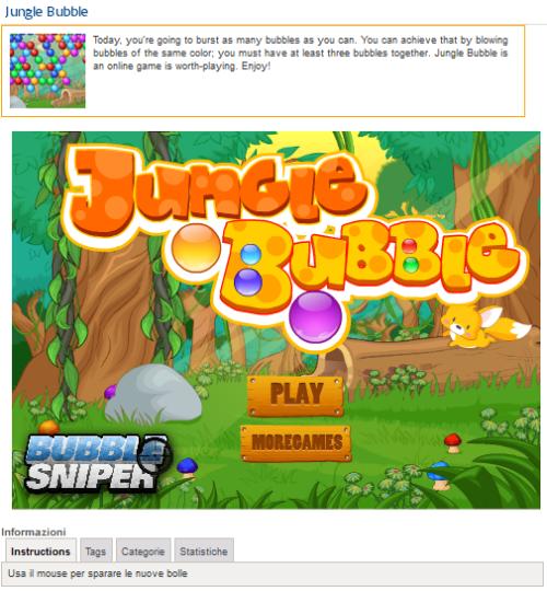 Pagina con singolo gioco