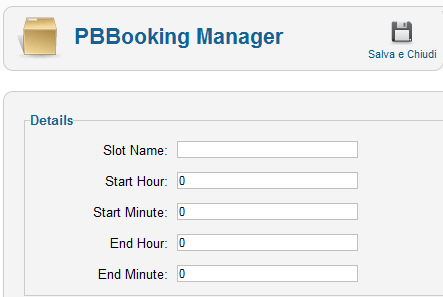 Timeslot in PBBooking