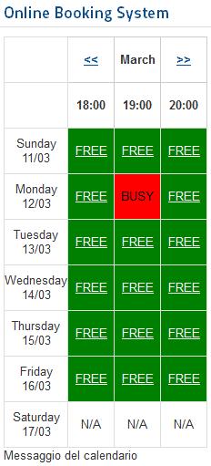 Calendario di booking
