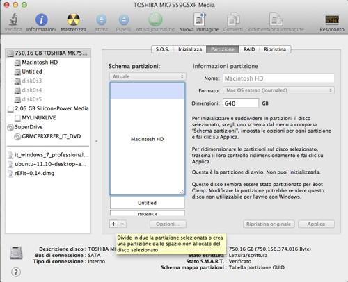 Figura 2: L'utility di partizionamento di Mac OS Lion