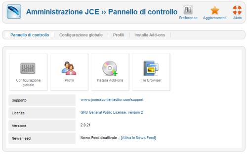 Il pannello di gestione di JCE