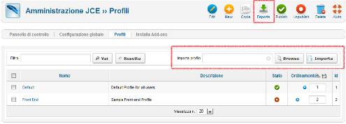 Figura 4. I bottoni per importare ed esportare i profili
