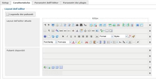 Figura 5. Personalizzazione dei bottoni dell'editor