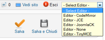 Il menù a tendina del plugin Editor Switcher