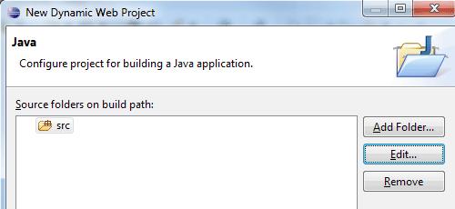 Impostare la cartella con il codice Java