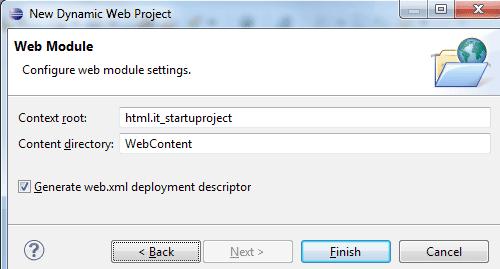 Completare la configurazione del progetto