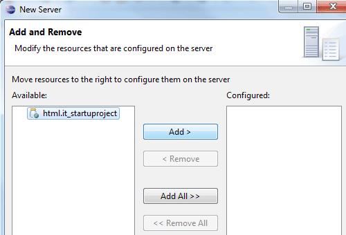 Aggiungere il progetto alla configurazione del server