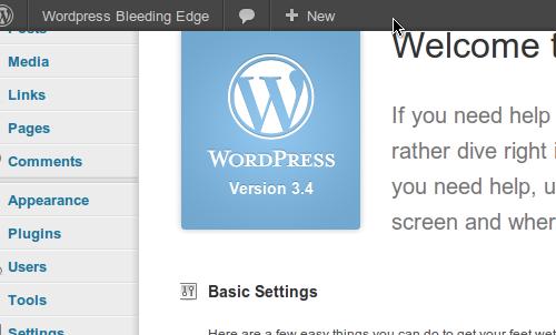 WordPress 3.4 admin bar