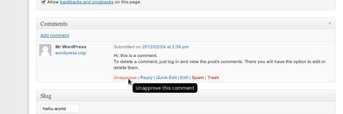 Figura 2. Gestione dei commenti in WordPress 3.4