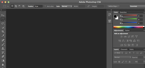 L'interfaccia di Photoshop CS6 Beta