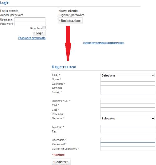 Pagina di login e di registrazione dei clienti