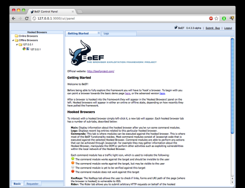 Interfaccia BeEF