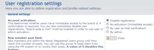 Disabilitare le registrazioni su phpBB3