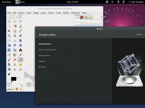 Figura 3: GNOME Boxes e GIMP 2.8 su Fedora 17