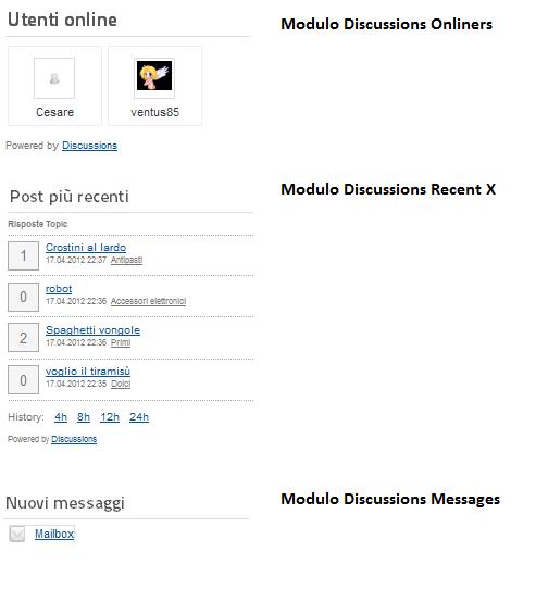 Moduli disponibili per Discussions