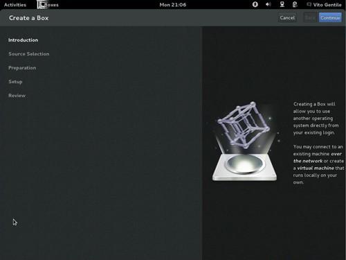 Figura 4: La schermata iniziale di GNOME Boxes