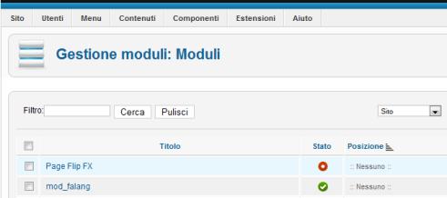 Gestione Moduli: attivate Page Flip FX in Joomla