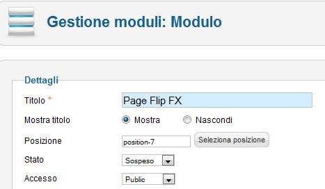 Posizionamento di Page Flip FX in Joomla