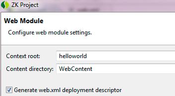 creazione del file web.xml per il progetto ZK