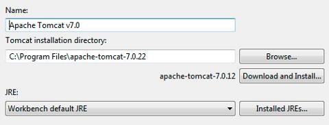 STS: impostazione del path di installazione di tomcat
