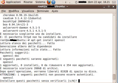 Installiamo OpenSSL con APT