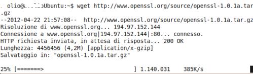 Scarichiamo il pacchetto compresso di OpenSSL