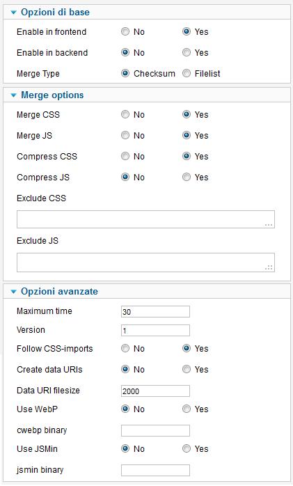 Opzioni per la configurazione di Script Merge per Joomla