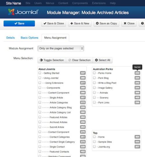 Gestione dei moduli in Joomla 3.0