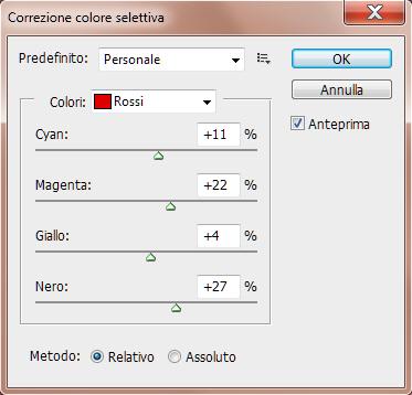 menu Correzione colore selettiva