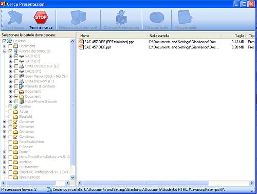 Interfaccia PPTminimizer
