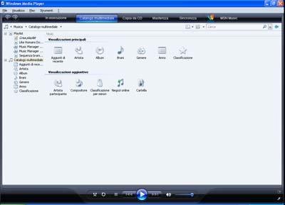 Interfaccia Windows Media Player