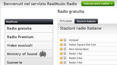 Sezione radio web di Real Player