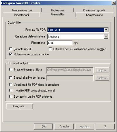 Finestra di configurazione di Jaws PDF Creator