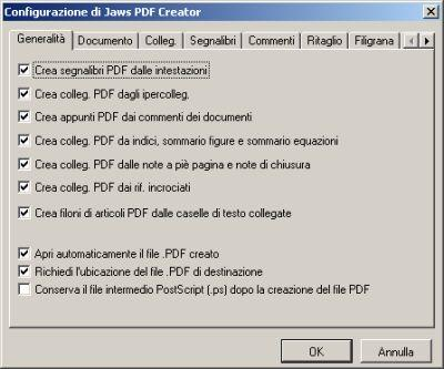 Finestra di configurazione integrata in Office di Jaws PDF creator