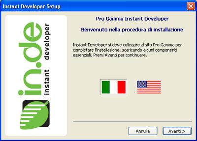 Instant Developer - Finestra installazione