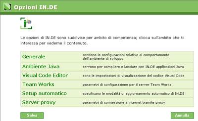 Instant Developer - Sezione opzioni