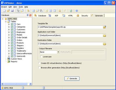 Pannello Database