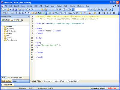 Interfaccia utente Rapid PHP 2010