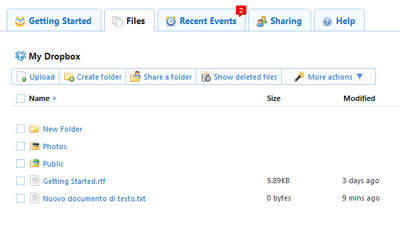 Sezione file del server remoto