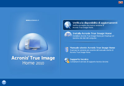 Interfaccia iniziale Acronis True Image Home 2010
