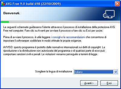 Installazione AVG Anti-Virus Free
