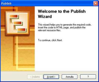 Wizard di pubblicazione menu