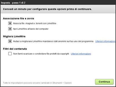 Configurazione LimeWire Basic