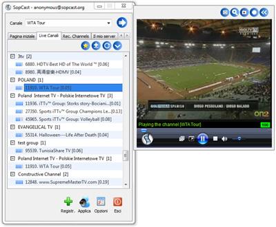 Interfaccia utente di SopCast