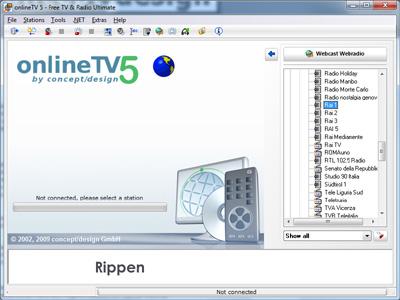 Interfaccia grafica di OnlineTV