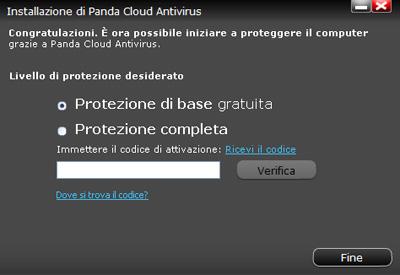 Pannello attivazione - Panda Cloud Antivirus Pro