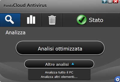 Sezione scansione e analisi - Panda Cloud Antivirus Pro